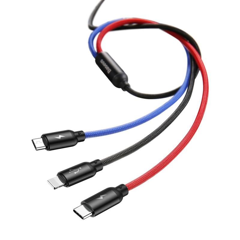 Baseus Three Color 3-in-1 töltőkábel
