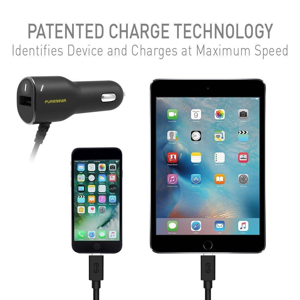 PureGear 3.4A USB autós töltő + lightning
